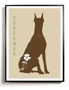 Doberman Pinscher modern art print.