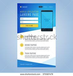 Landing page for mobile application promotion. Newsletter, email template for mobile application with smartphone and registration form. Vector illustration.