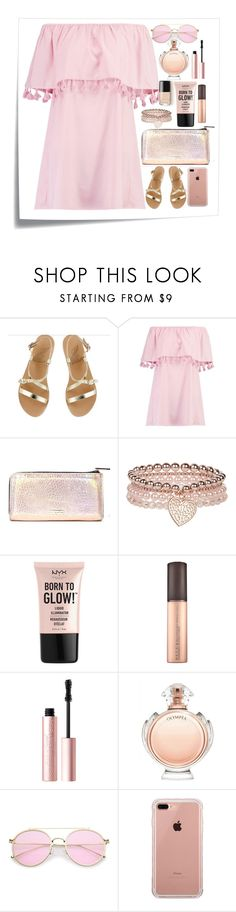 """""""Pink fillers #2"""" by nrostova ❤ liked on Polyvore featuring Post-It, Ancient Greek Sandals, Boohoo, Skinnydip, Monsoon, NYX, Too Faced Cosmetics, Paco Rabanne and Belkin"""