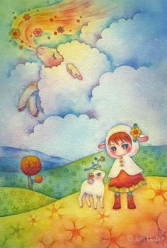"""love the colors and this makes me think of """"counting sheep"""""""