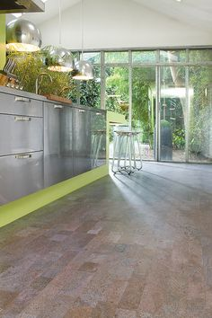 Stunning open space to show off the cork flooring with the beautiful green surroundings #cork #flooring
