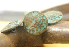 Flower and Vine Metal Buttons , Green Rust Color , Hexagon , Shank , 0.79 inch , 6 pcs on Etsy, $6.00