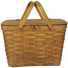 Vintage Longeberger Picnic Basket ($195) ❤ liked on Polyvore featuring home, kitchen & dining, food storage containers, food, accessories, baskets, bolsas, kitchen, filler and vintage picnic basket