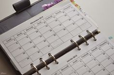planning mensuel filofax personal