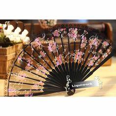 Japanese Black Silk Pink Rosette Bamboo Wedding Bridal Hand Fan Fans SKU-11213060