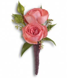 Rose Simplicity Boutonniere - Ray Hunter Florist & Garden.  SKU: T202-6A Product Description A single coral rose is elegant and understated.