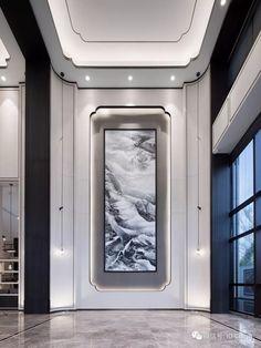 Lobby Interior, Home Interior Design, Interior Architecture, Ceiling Design, Wall Design, House Design, Dark Home Decor, Entrance Foyer, Lobby Design