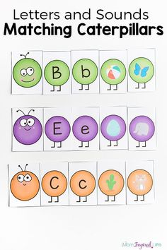 Caterpillar letters sounds activity for spring! A fun, hands-on alphabet activity!