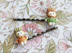 Cute Rabbits Hair Pins.  Whimsical Hair Pins. Spring Fashion by Roses and Lemons.