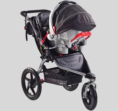the BOB revolution stroller, with a car seat adapter so you can use it right away. used is absolutely great, they are tough and take you just about anywhere. other accessories we like are the rainfly, the cupholder, diaper bag hooks, a bicycle pump and a spare inner tube when we go out in the woods.