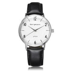 293b2d114a9 Brand Bergmann Bauhaus style Vintage White Men Women Watches Classic  Genuine Leather Brown Black Relogio Montre Femme Gift Bergmann is .