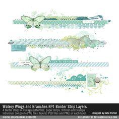 Watery Wings and Branches Border Strip Layers No. 01- Katie Pertiet Elements- EL848171- DesignerDigitals