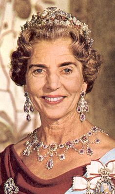 Queen Ingrid of Denmark (1910-2000) Queen Ingrid wearing the Ruby Parure Tiara along with matching earrings, necklace and broach which she willed to her grandson Crown Prince Frederick who has since given it to his wife Crown Prince Mary.