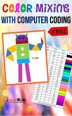 Color mixing with computer coding for preschool kids with free monster coloring page and RGB color code chart. A fun introductory STEM / STEAM computer coding activity for beginners for Hour of Code, Computer Class, programming Class. Science Activities For Kids, Cool Science Experiments, Stem Activities, Science Fair, Computer Coding, Computer Class, Learning Resources, Stem Learning, Learning Tools