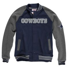Mitchell   Ness Dallas Cowboys Backward Pass Button-Up Jacket - Navy  Blue Charcoal 8e177e339