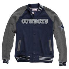 Mitchell & Ness Dallas Cowboys Backward Pass Button-Up Jacket - Navy Blue/Charcoal