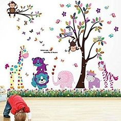 Walplus Wall Stickers Happy Animals Tree Butterfly Grass Removable Self-Adhesive Mural Art Decals Vinyl Home Decoration DIY Living Bedroom Office Décor Wallpaper Kids Room Gift, Multi-colour  Walplus £13.99