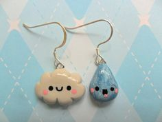kawaii earrings | Kawaii Earrings Cloud and Raindrop Polymer Clay Kawaii Jewelry