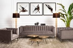 The Mid-Century Modern Raffles Sofa rests upon a powder-coated steel base with gunmetal finish and is beautifully upholstered in Porpoise grey velvet. Fancy, Furniture Arrangement, Interiores Design, Daybed, Midcentury Modern, Modern Decor, Home Accessories, Designer, Furniture Design