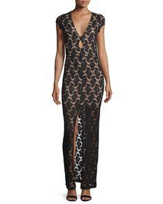 Cap-Sleeve Lace Maxi Dress, Black - Nightcap Clothing