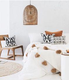 ••• | @raegencallihan Moroccan Style Bedroom, Moroccan Bedding, Moroccan Cushions, Boho Cushions, Bedroom Cushions, Wicker Bedroom, Linen Bedroom, Cozy Bedroom, Bedroom Inspo