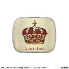 Red and Gold Prince Baby Shower Candy Jelly Belly Candy Tins