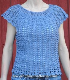 Discover thousands of images about ABC Knitting Patterns - Scalloped Summer Top. Crochet Shirt, Crochet Jacket, Knit Crochet, Crochet Stitches Patterns, Crochet Designs, Knitting Patterns, Mode Crochet, Crochet Summer Tops, Crochet Woman