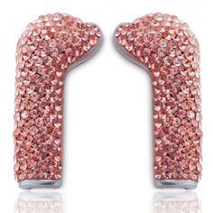 Full Crystal LIGHT ROSE Earphone Covers w/ DEOS earphones from Deos