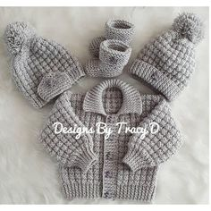 Noah baby cardigan hat and booties knitting pattern 3 sizes 0 knitting pattern by designs by tracy d