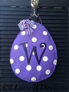 Initial Egg Burlap Door Hanger. $30.00, via Etsy.