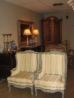 Pair of French Painted LXV Bergere Chairs