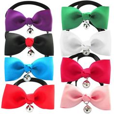 YOY Handcrafted Pet Bow Tie - Adjustable Neck Tie 7.8'-14' Fashion Jingle Bell Bowtie Dog Collar Necktie Kitty Puppy Grooming Accessories for Doggie Cat Pack of 8, Multi-colored * Hurry! Check out this great product : Cat Collar, Harness and Leash