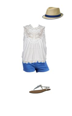 Summer ready outfit - romantic lace, playful hat and a pop of colour!