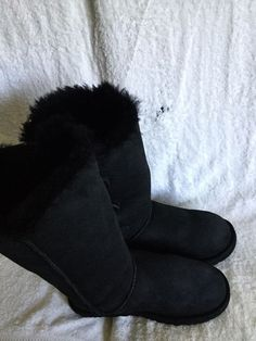 cb795cbaba20c7 UGG Australia Triple Bailey Button Black Women Suede Sheepskin Winter Boots  Sz 8  fashion