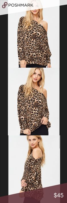 ✨COMING SOON✨ Off the Shoulder Leopard Print Top ✨COMING SOON✨ Off the Shoulder Leopard Print Jersey Knit Top! Doleman sleeve leopard print tunic top - boat neckline - long sleeves - loose fit. 96% Rayon 4% Spandex. Measurements coming soon! Tops Tunics