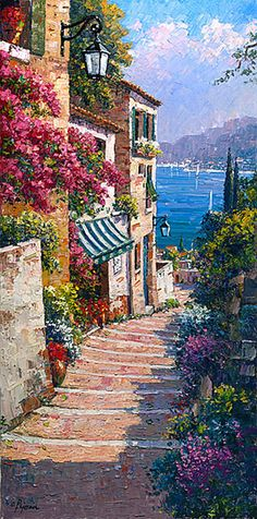 ART~ A Sunny Walk Down The Cobbled Stairs Towards The Bright Blue Sea Dotted With Yachts, Everywhere~ Robert Pejman