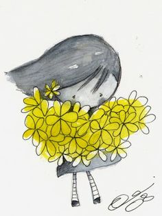i bring you flowers Cute Illustration, Watercolor Illustration, Watercolor And Ink, Watercolor Paintings, Little Girl Illustrations, Mellow Yellow, Whimsical Art, Oeuvre D'art, Cute Drawings
