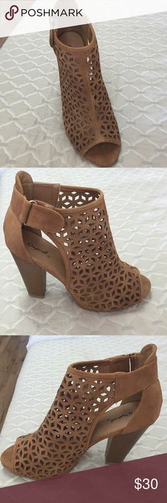 Chestnut open toe bootie Chestnut open toe bootie perfect for any type of event that you may have going on Sizes 5.5-10 Available  Qupid Shoes Ankle Boots & Booties