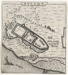 Anonymous | Plattegrond van Huis Bylandt, 1631-1632, Anonymous, 1632 - 1649 | Plattegrond van Huis Bylandt, vroeger bekend als Huis te Halt. Onderdeel van een groep plattegronden van steden, forten en dijken in Brabant veroverd door het Staatse leger onder Frederik Hendrik in de jaren 1631-1632.