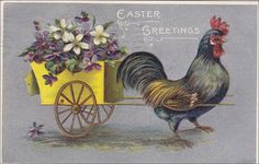 Easter Greetings Rooster pulled wagon by sharonfostervintage, $4.00