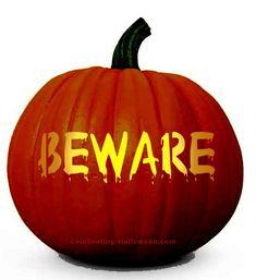 Halloween Beware Pumpkin Carving Stencil