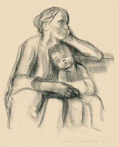 Käthe Kollwitz, Arbeiterfrau mit schlafendem Jungen, 1927