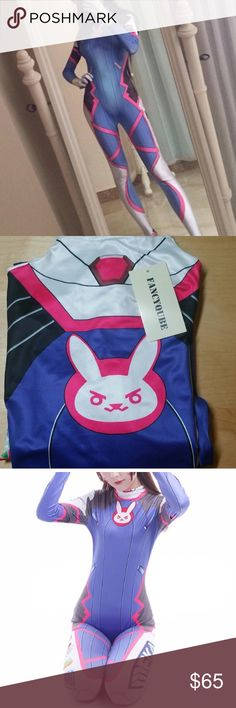 Overwatch D.VA Suit Cosplay Costume Size Small Perfect for your D.Va Cosplay! This is size small and is a stretchy zentai suit material. If you need a different size please message me and I'll see what I can do! No lowballing please! If you need the wig as well I do bundle! :)  Tag Size: S, Bust: 80cm (31.5in), Waist: 66cm (26in), Hip: 86cm (33.9in), Length: 158cm (62.2in), Shoulder: 37cm (14.6in), Sleeve: 60cm (23.6in)  Overwatch Cosplay costume d.va Hana Song zentai suit meka bunny anime…