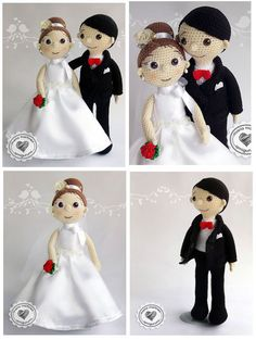 Free Pattern of Bride and Groom Crochet in amigurumi - Patterns Free Crochet Dolls Free Patterns, Amigurumi Patterns, Amigurumi Doll, Crochet Box, Crochet Crafts, Free Crochet, Knitted Stuffed Animals, Human Doll, Wedding Doll