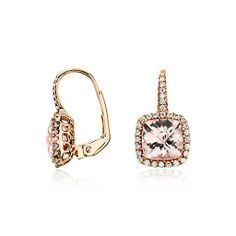 @Danielle DeStefano You know what to do...  Morganite and Diamond Cushion Drop Earrings in 14k Rose Gold