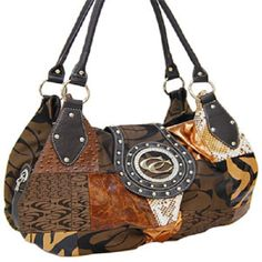 Brown Designer Inspired Patchwork Fashion Handbag - Handbags, Bling & More!