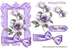 PURPLE MAGNOLIAS WITH BOW on Craftsuprint - Add To Basket!