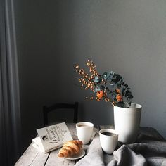 Beautiful morning light on our breakfast table today. We are so in love with our new porcelain from @claudia_schoemig . She is so talented!!