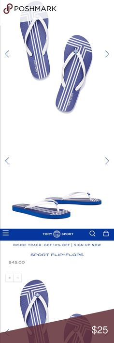 """Tory Sport by Tory Burch blue flip flops 7 """"Lightweight and ultra-comfortable, our Sport Flip-Flops are a warm-weather staple. Marked with our enamel logo and graphic T stripes — inspired by the lines on a tennis court — the sandals are perfect for the beach, boardwalk or locker room."""" ** only wore a few times, too bright for my taste, but really high quality! ** Tory Burch Shoes Sandals"""
