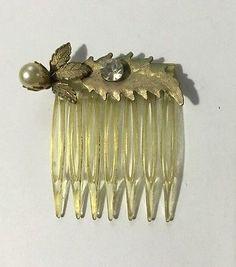 Vintage Lot Hair Combs Tortoise Shell Plastic Rhinestones Pearls Clear Brown   eBay